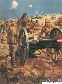 The Last Shot at Colenso by Richard Caton Woodville. Lt Roberts K.R.R. with Captain Schofield and Congreve, with all their ammunition used, they drew upon the emergency rounds of Case (their last shot) They stood to attention beside the gun and in an instant later fell pierced through by Boer Bullets. Lt Roberts earned his VC.
