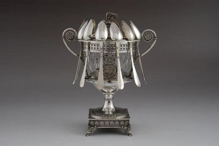 Antique french silver confiturier, Paris