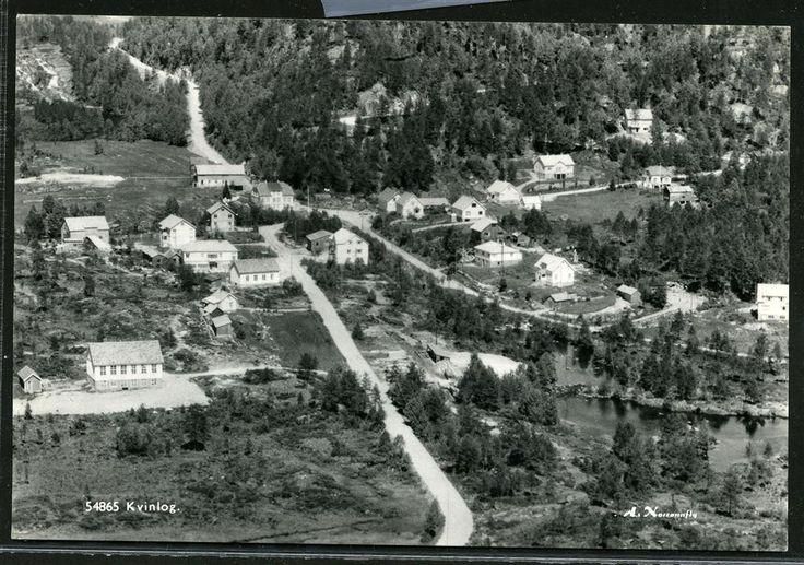 Vest-Agderfylke Kvinesdal kommune. Kvinlog. 1950-tallet. Utg A/S Norrønafly Kvinlog er et lite sted i Kvinesdal kommune i Vest-Agder.  Stedet ligger langs Riksvei 42.svgRiksvei 42 og Fylkesvei 465, og ligger midt mellom Kvinesdal og Knaben.