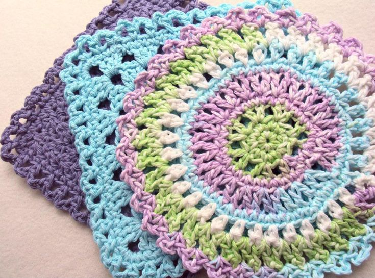 Stack of Colorful Crocheted Doilies