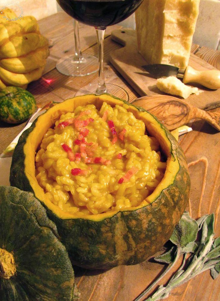 Briciole di Sapori           : Risotto alla zucca con filetti di pancetta croccan...