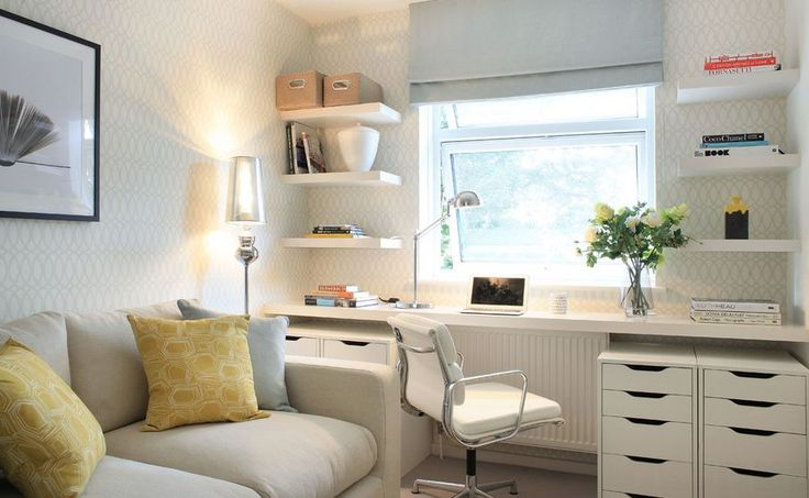 Narrow Desks For Slim Spaces And Space-Savvy Homes Turn the window wall into your workstation area. Get a narrow shelf which you'll use as a desk and place at a comfortable level, add storage on the sides, leave room for the chair at the center and feel free to add open shelves around the window as well.