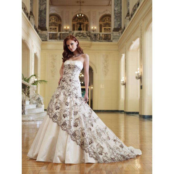 White Wedding Dresses With Black Accents - Amore Wedding Dresses