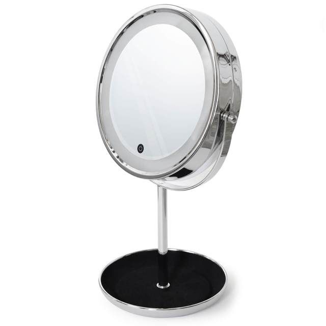 Countertop Makeup Mirror With Jewelry Tray Led Touch Light And
