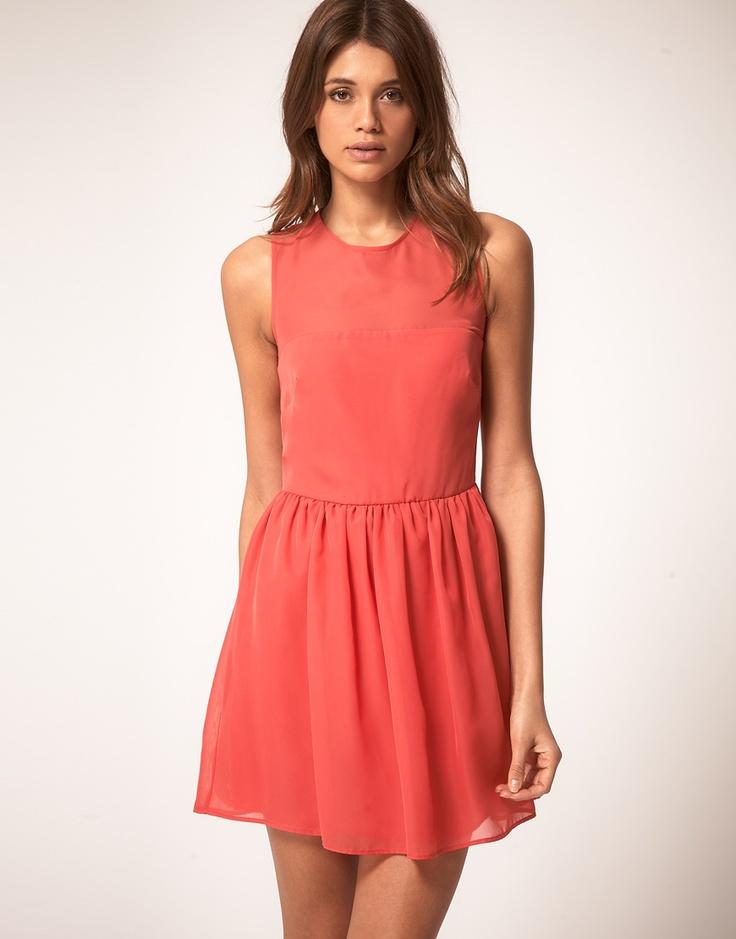 chiffon coral dress