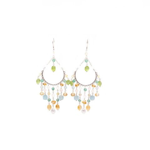 C13 - Chandelier Earring for serenity with citrine, aventurine, | Anna Michielan for Oishii Jewelry #citrine #aventurine #aquamarine #rosequartz #peridot #silver #love #collection #annamichielan #oishii #healing #jewelry #forthesoul #natural #remedies #earring #accessories #crystal #stone #gem #mineral #boho