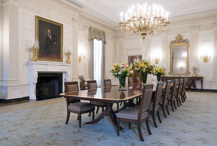 "Jura Koncius, ""Obama Legacy Includes a New Look for White House's State Dining Room,"" The Washington Post (26 June 2015). New chairs, based on an 1818 Monroe model, were custom-made by Baker Furniture in Hickory, NC, and the durable horsehair fabric came from Brunschwig & Fils. Two identical 28x43' wool rugs were made by Scott Group Custom Carpets in Grand Rapids, MI. Design by Michael S. Smith."