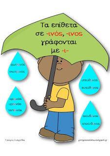Teachers Aid: Τα επίθετα σε -ινος και οι εξαιρέσεις τους - αφίσα...