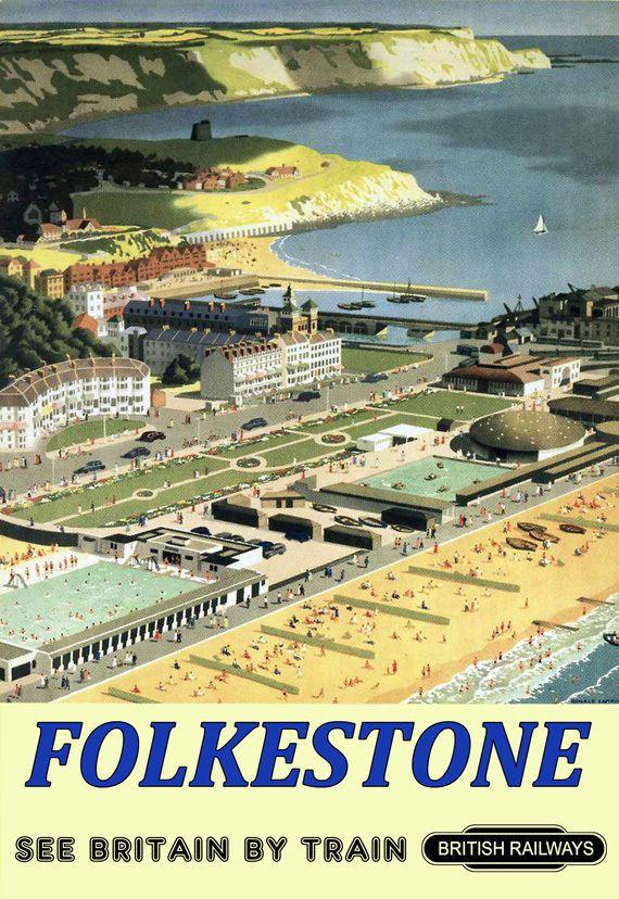 Art Ad Folkestone British Railways Train Rail Travel Poster Print | eBay