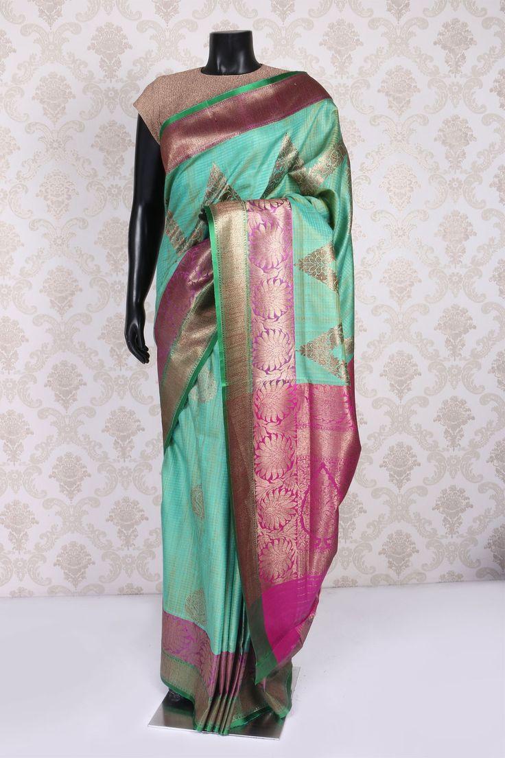 Aqua #green & #gold banarasi silk #glamorous saree with zari weaved pallu -SR10992
