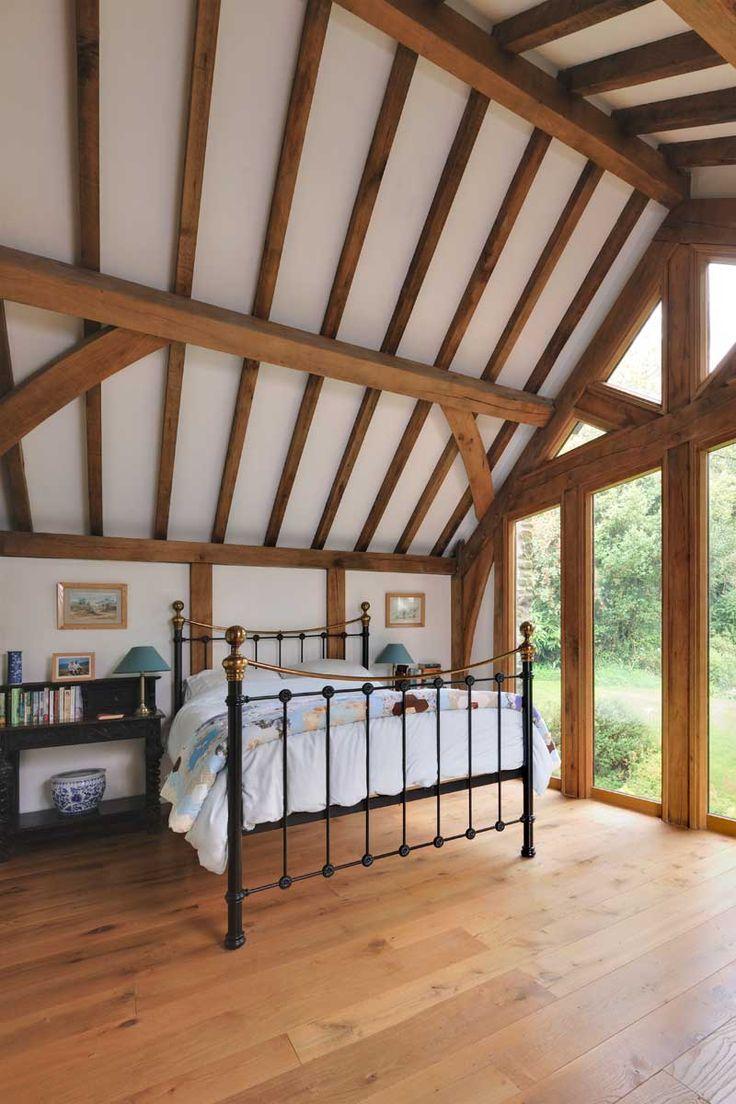 Bedroom ideas from Welsh Oak frame.  #bedroomideas #self-build #oakbeams #vaultedceilings