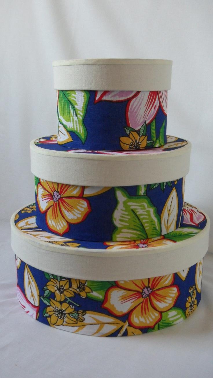 """Decorative """"chita"""" boxes (brazilian rustic fabric)"""