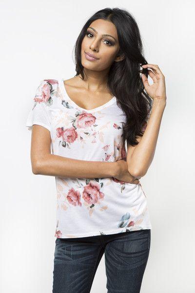 Wild Rose V-Neck T-Shirt << LOVE