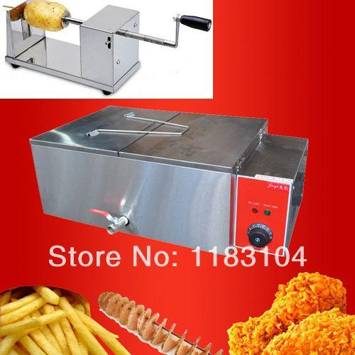 Commercial Use Spiral/Twister/Tornado Potato Cutter Slicer&12L 220v Electric Deep Fryer