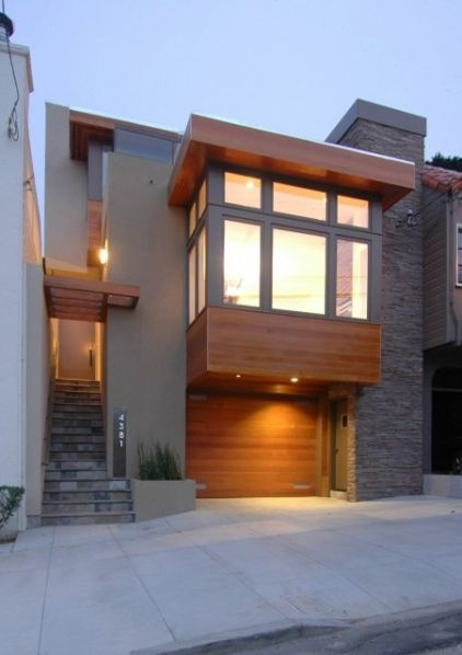 Warm modern in noe valley modern exterior san francisco mark brand architecture i like the stone along the vertical wall like the slate