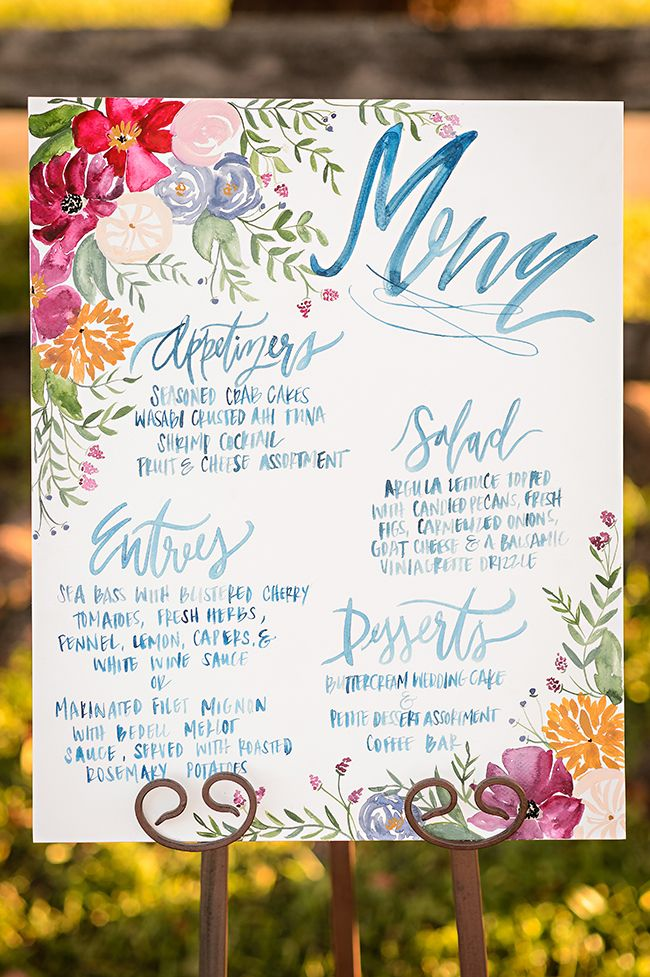 Colorful Watercolor Wedding Menu | Naomi Chokr Photography | Bold and Colorful Fall Wedding in Burgundy, Orange, and Teal