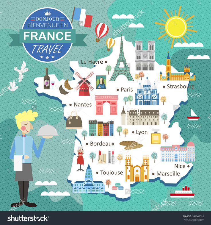 Attractive France Travel Map With Attractions And Specialties Stock Photo…