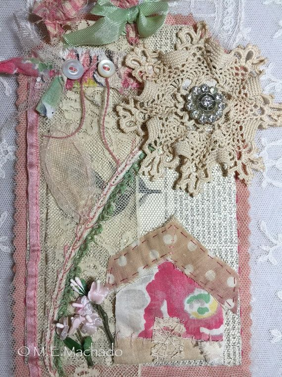 Altered art mixed media hand work embroidery by