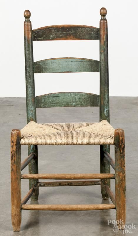 Exceptional Childu0027s Ladderback Chair, Ca. 1800, Retaining An Old Blue/green Surface.