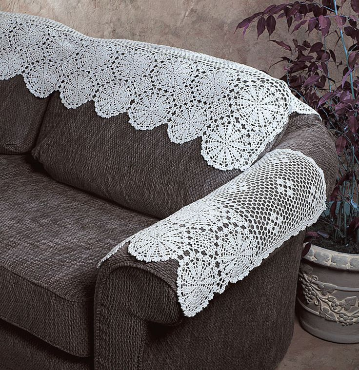 New Handmade Crochet Lace Cotton White Arm Sofa Cover 22