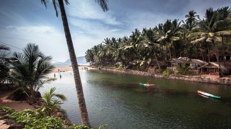 Kayaking across the lagoon at Dwarka in south Goa.