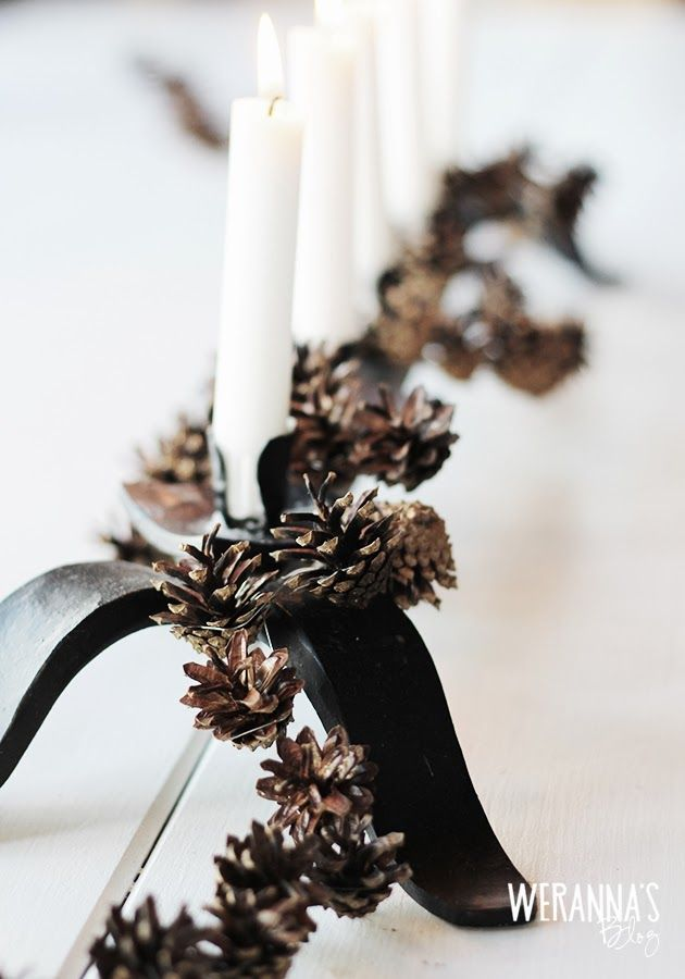 DIY Cone garland - Tee-se-itse käpykoriste               Mommy's project this weekend at the summer house...We have dry (even dried...