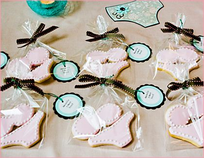 Not bikinis (I think that's what these are?), but shamrock-shaped cookies could work as favors along with Erin's hershey kisses?