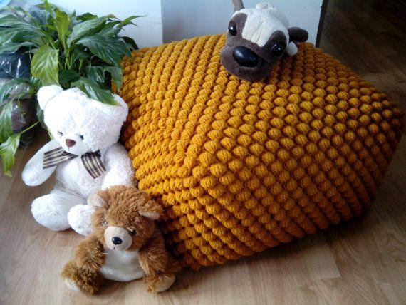 Gehaakte gevuld mosterd/geel Ottomaanse / kwekerij poef / breien van poef Ottomaanse / wol stoel