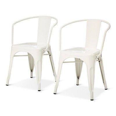 carlisle metal dining chair white set of 2