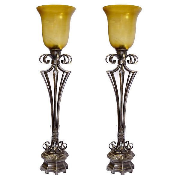 gorgeous vintage style iron torchiere tall buffet lampset of