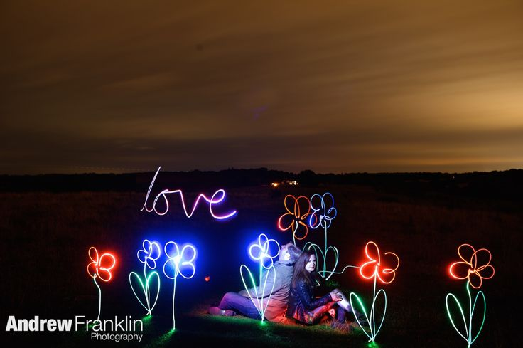 Pre wedding shoot, light painting, engagement shoot, flowers, By Andrew Franklin Photography, www.andrewfranklin.co.uk