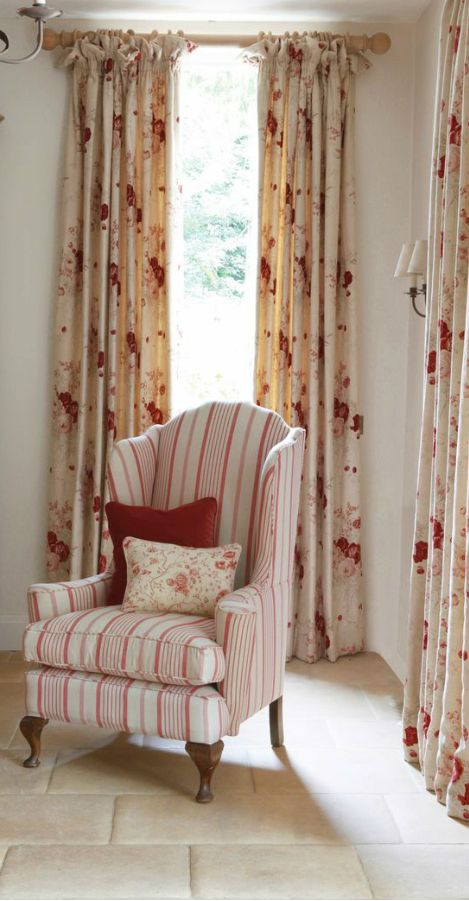 Beautiful ~ Kate Forman...red ticking stripe wing back chair with cabbage rose curtains.