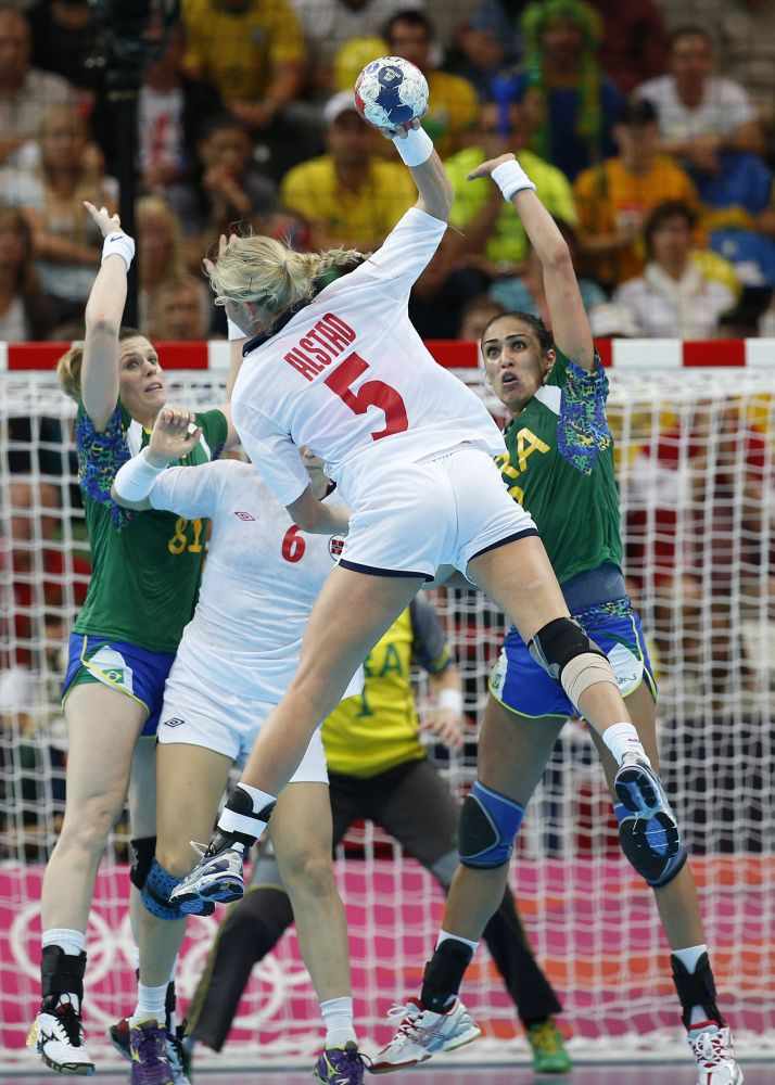 Norway's Ida Alstad, takes a shot at Brazil's goal during their women's handball quarterfinal match at the 2012 Summer Olympics, Tuesday, Aug. 7, 2012, in London.