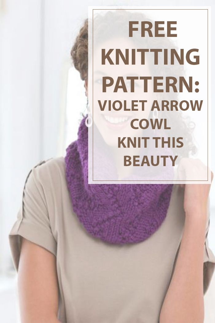 If you dont have much time to knit a  scarf this free knitting pattern is for you. Knit this fascinating looking purple scarf with super bulky yarn. Its referred to as Violet Arrow Cowl  cause it features a cute arrow-like form. #knitting #knit #hobbies | Housewiveshobbies.com