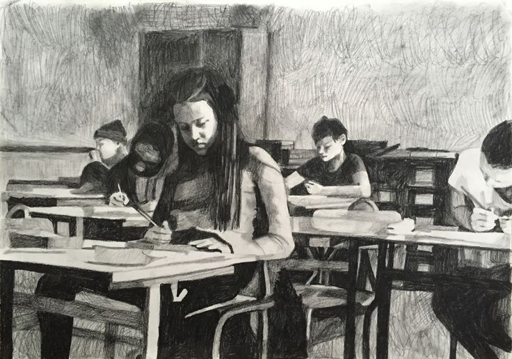 Pencil and charcoaldrawing
