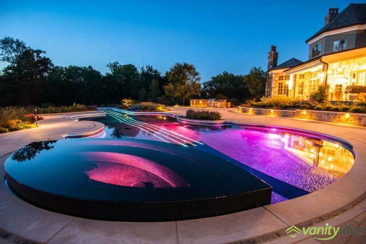 pool decor in the night