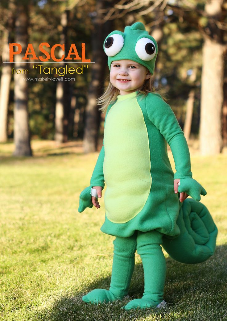 "DIY Halloween Costume Ideas: Pascal from ""Tangled"" www.makeit-loveit.com"