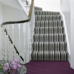 Maybe go with black and white for stripe instead? Elizabeth Grieves Striped Stairs and Hall Runners
