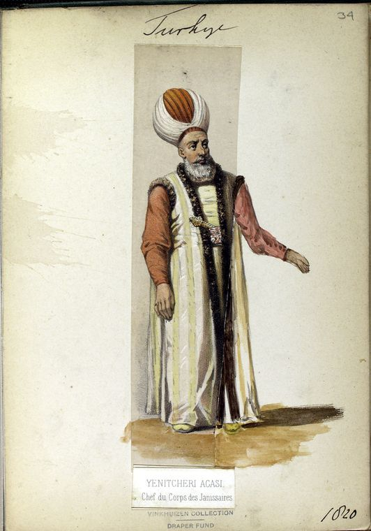 Chef du Corp of the Janissaries (general). The Vinkhuijzen collection of military uniforms / Turkey, 1818. See McLean's Turkish Army of 1810-1817.