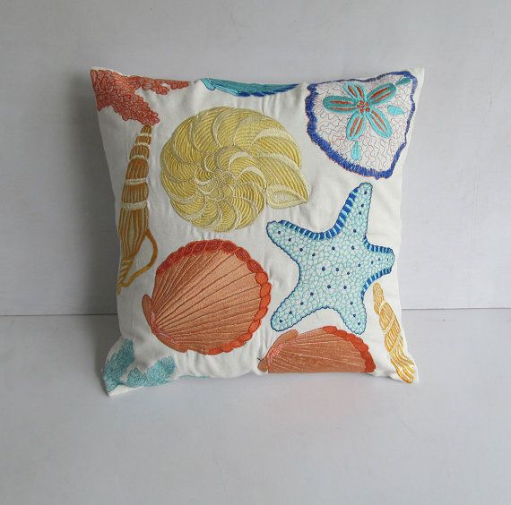 Sea themed pillow cover in off white with sea life embroidery 18X18 inch. 6 Instock ready to ship