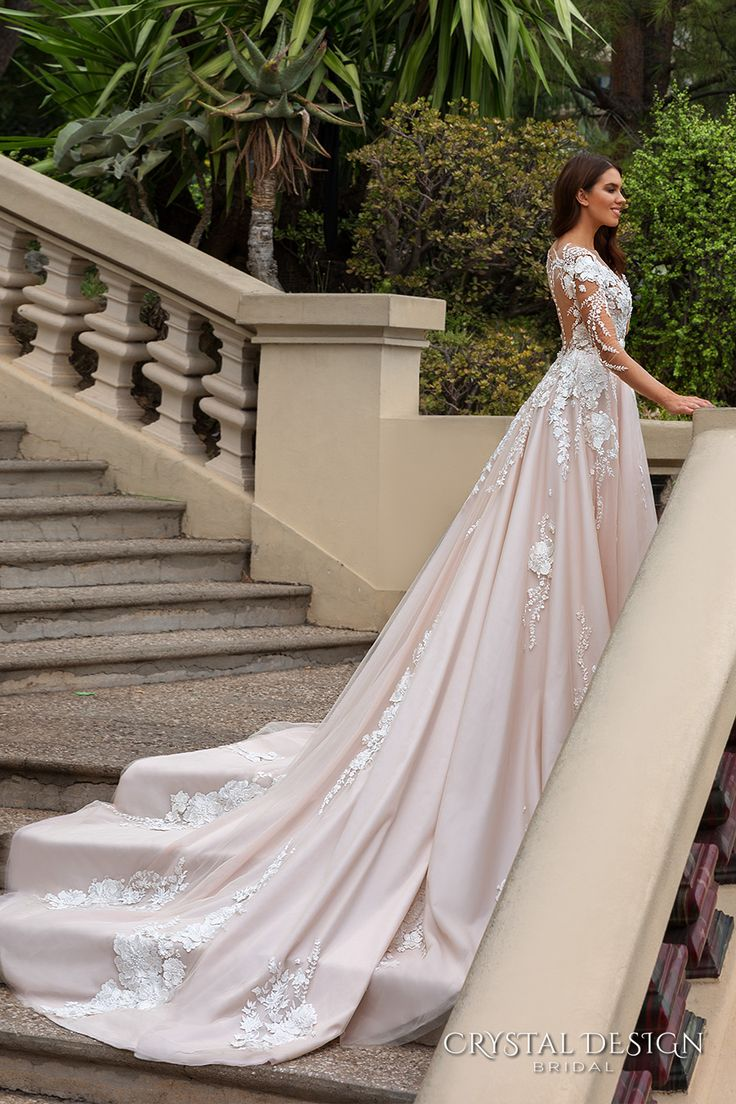 254 best pink blush gowns images on pinterest wedding for Long sleeve blush wedding dress