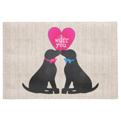 Valentine Black Labs Natural Burlap Doormat - home gifts ideas decor special unique custom individual customized individualized