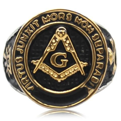 Vintage Gold Black Tone Master Mason Knight Templar  Signet Ring VIRTUS JUNXIT MORS NON SEPARABIT - Free Masonic Ring RING - Masonic Jewelry Free Masonic Ring - FreeMasonicRing.com