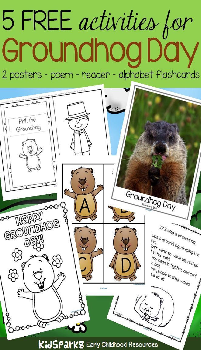 Groundhog Day is February 2nd - get 5 free activities to add to your preschool theme unit. #groundhogday