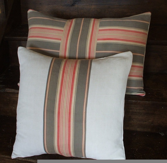 French Vintage Linen Pillows Cushions Vintage French Ticking Sage
