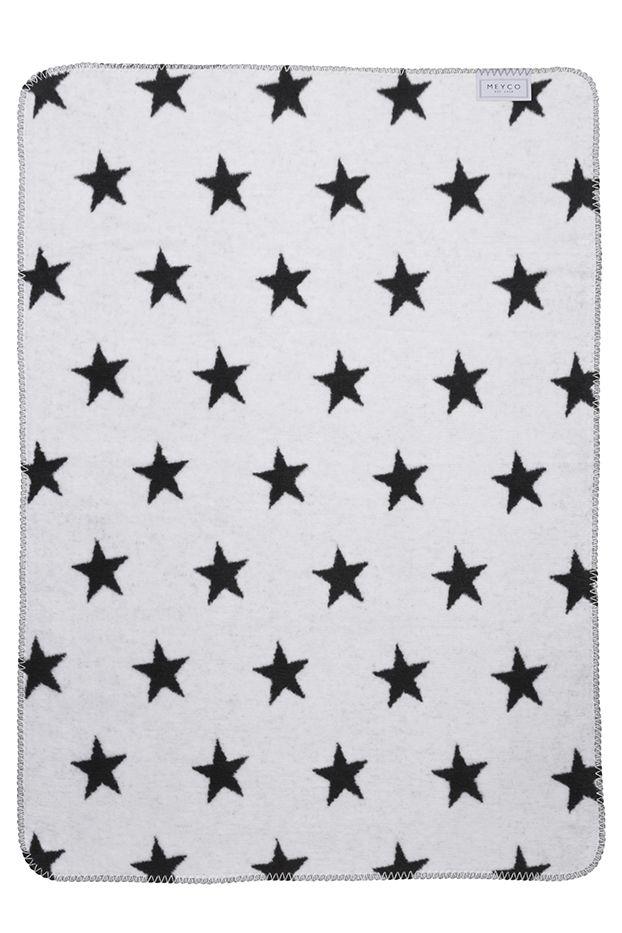 Meyco babydeken wieg/ledikant Stars zwart/wit