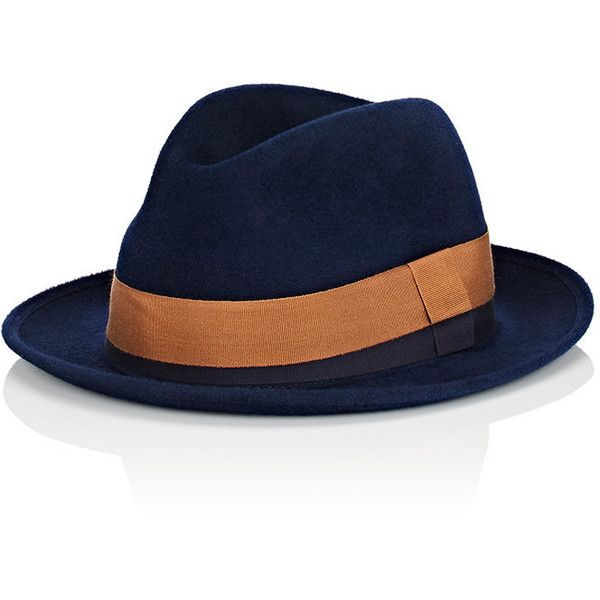 Barbisio Men's Rabbit Fur Felt Fedora (€340) ❤ liked on Polyvore featuring men's fashion, men's accessories, men's hats, blue, mens felt hat, mens fedora, mens felt fedora, mens wool felt fedora hats and mens blue fedora hat