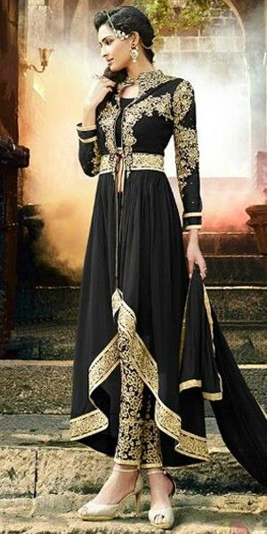 Dashing Black Georgette Designer Full Length Anarkali Suit With Chiffon Dupatta.