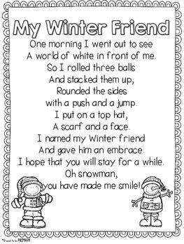 Winter Snowman Poem FREEBIE                                                                                                                                                                                 More