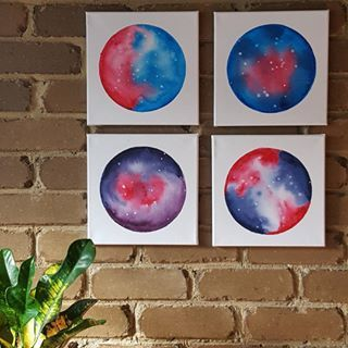 Set of Four Watercolour Moons. Painted by and Styled by NONCi NYONI